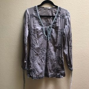 Mur Mur Gray embroidered Swim cover up tunic S